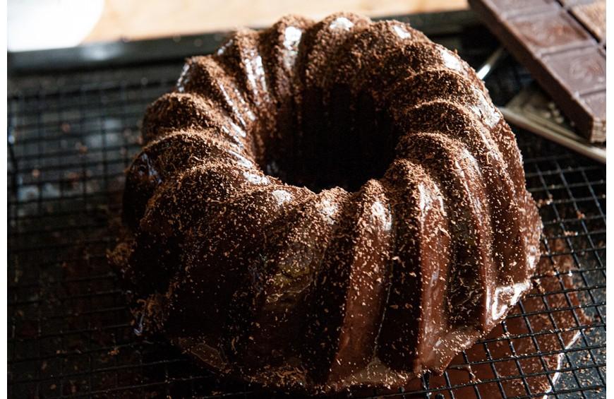 Bundt Cake au Chocolat Castelain et glaçage miroir au chocolat noir