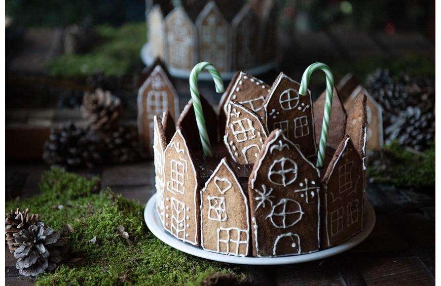 Village de fête aux pains d'épices, chocolat et crème de marron